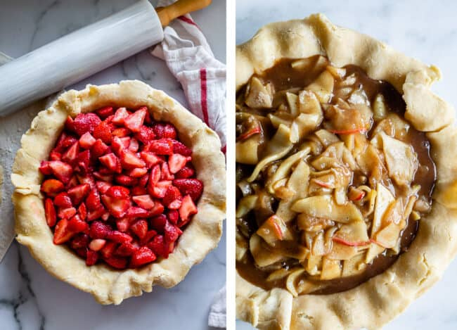 Pie crust filled with strawberries; filled with apples