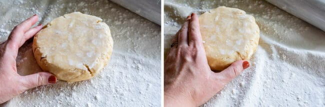 healing a cracked pie dough with a thumb