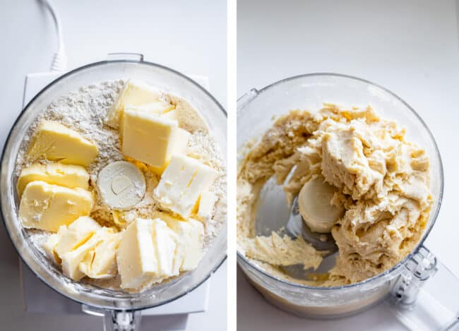 combining flour with butter and shortening in a food processor