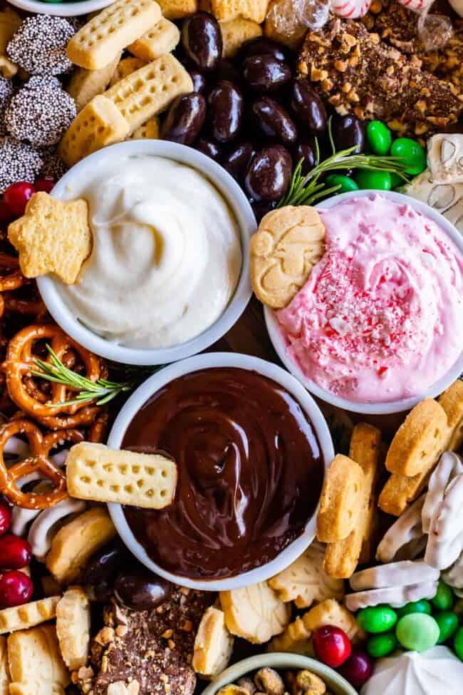 overhead shot of sweet dips on a Christmas themed dessert platter