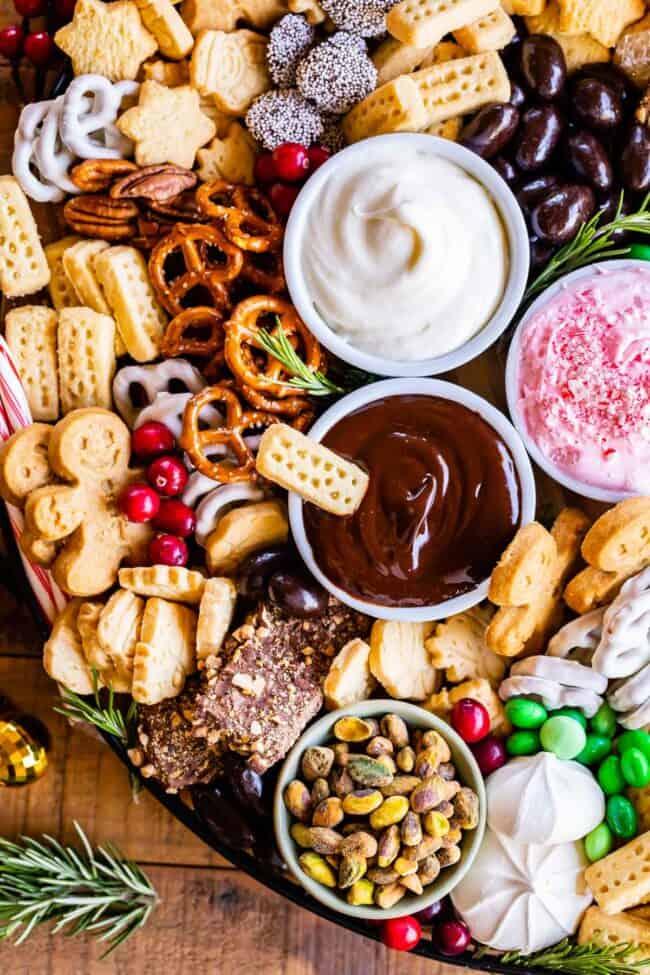 dessert platter with pretzels, shortbread, chocolate and peppermint dips, meringues, etc.