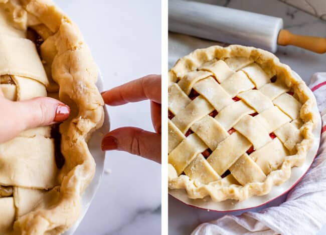 how to crimp pie dough with fingers