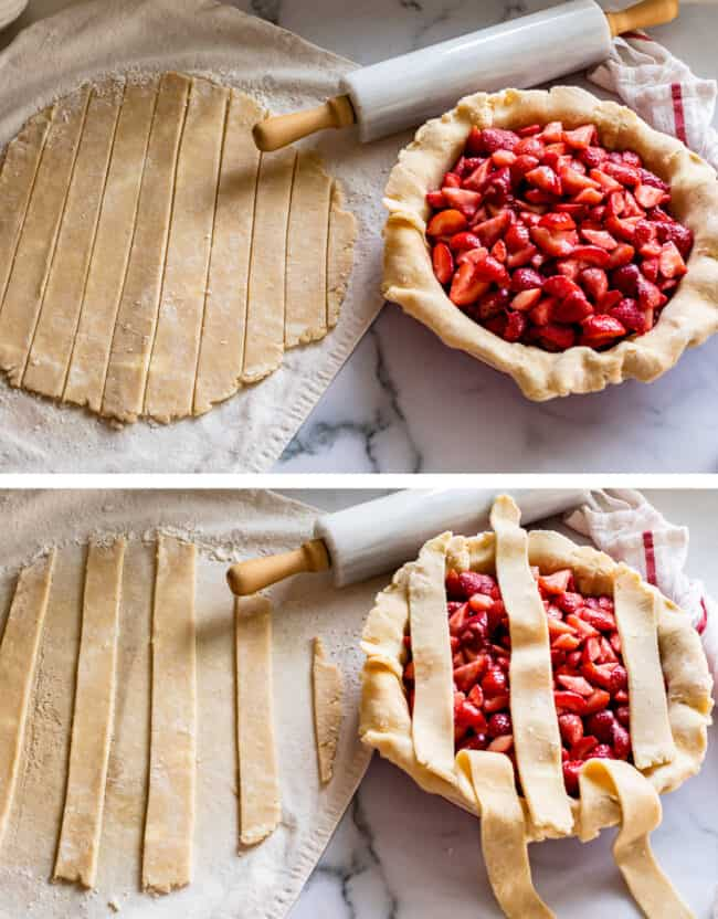 the first step of a lattice pie crust tutorial
