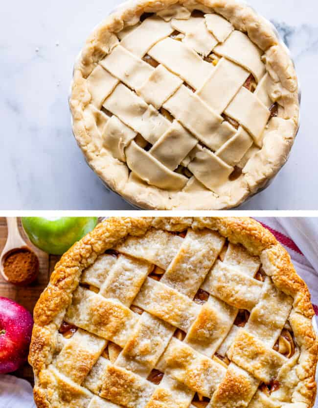 a raw lattice crust apple pie with a baked apple pie