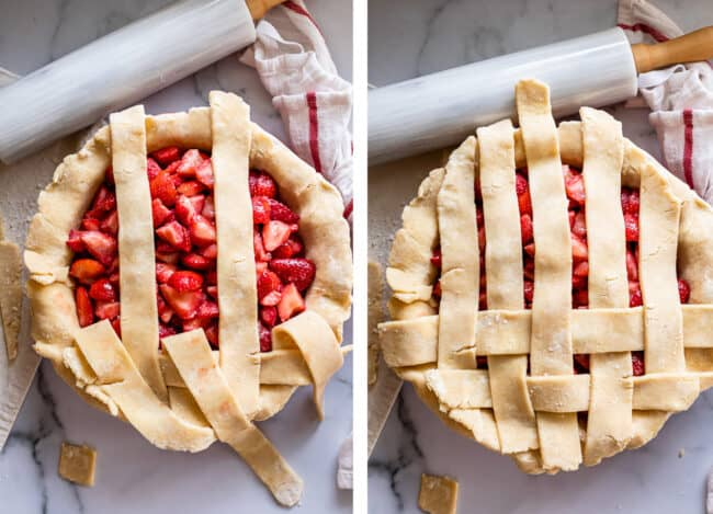 how to lattice pie crust on a strawberry pie