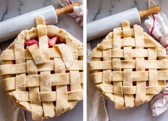 finishing the weave on a simple lattice pie crust