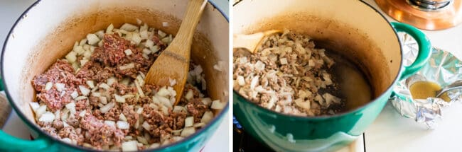 sauteeing ground beef and onions in a soup pot, draining grease