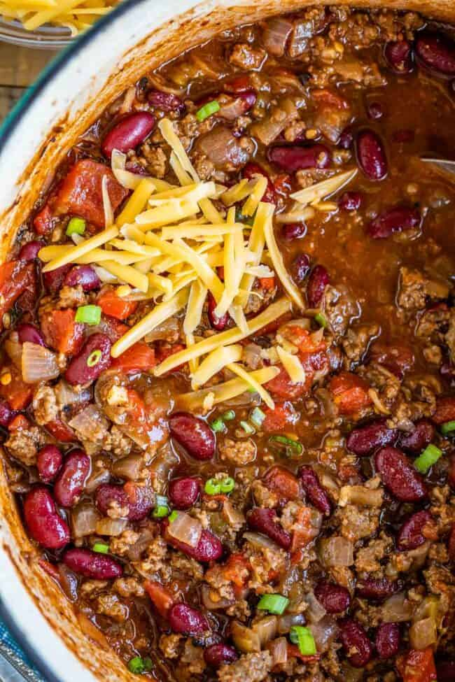 quick and easy chili with cheddar cheese, shot from overhead