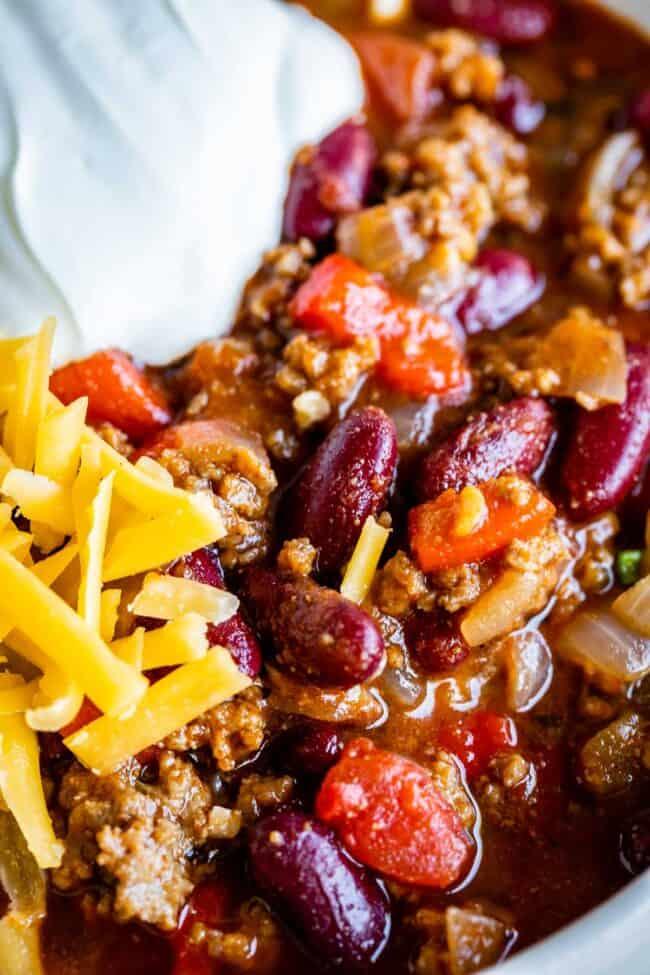 close up shot of easy chili recipe