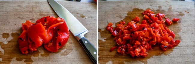chopping roasted red pepper on a cutting board
