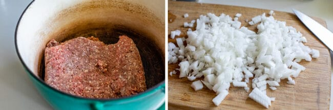ground beef in a pot, chopped onions