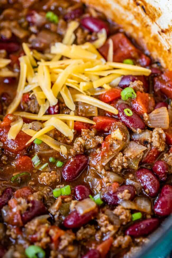 quick easy chili recipe with cheddar cheese in a pot
