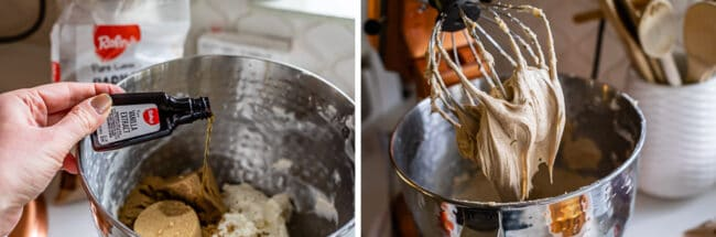 adding vanilla to a stand mixer, the beaten cream cheese and brown sugar