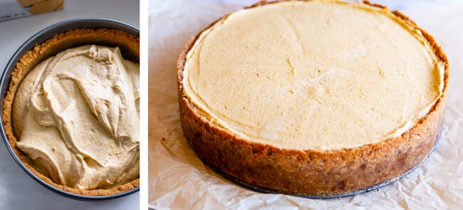 adding filling to cheesecake, chilled cheesecake