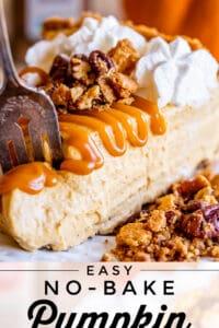 a fork lifting a piece of easy no bake pumpkin cheesecake