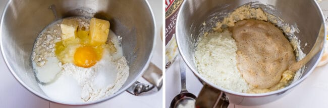 adding egg, shortening, flour, and butter to a bowl to make dinner rolls