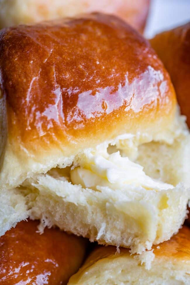 Cut parker house roll with butter inside