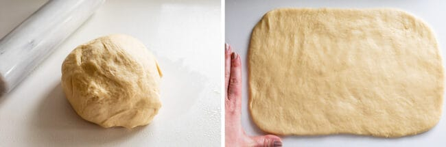 punched down dough for bread, rolled out dough