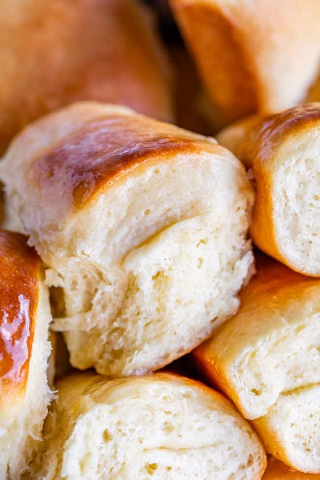 Side view of parker house rolls recipe
