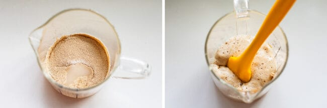 yeast, water, and sugar in a measuring cup, before and after bubbling