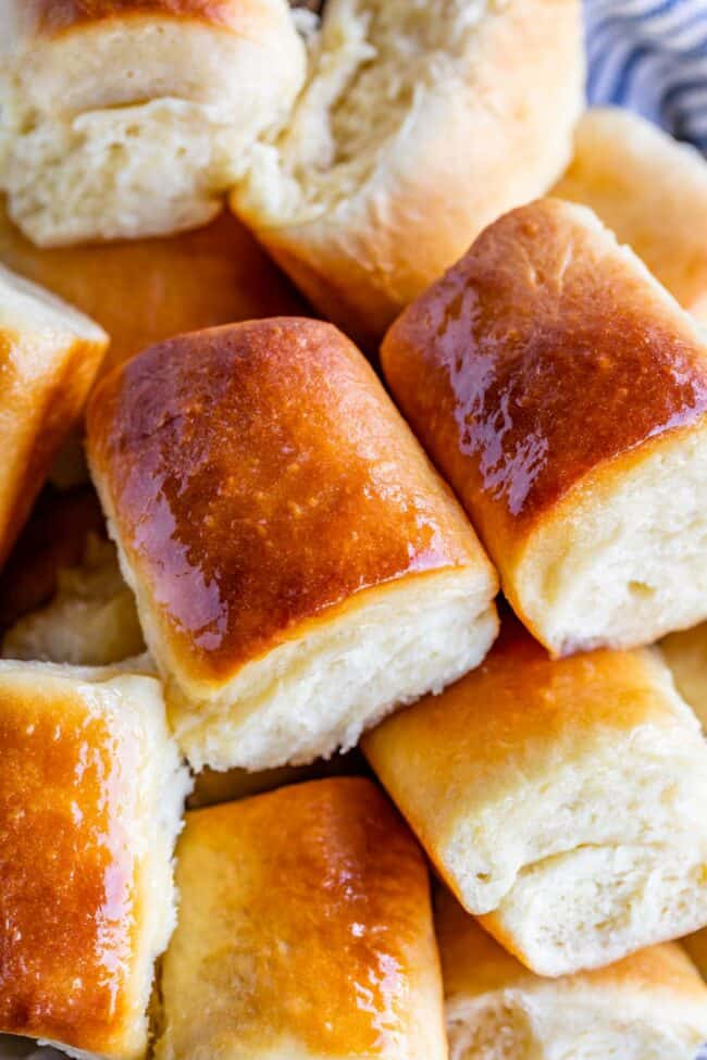 parker house rolls piled together in a bowl
