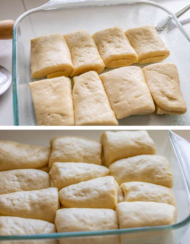 shaped parker house rolls dough, just shaped and risen