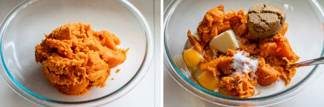 mashed sweet potatoes in a bowl, adding casserole ingredients like sugar, butter, and eggs