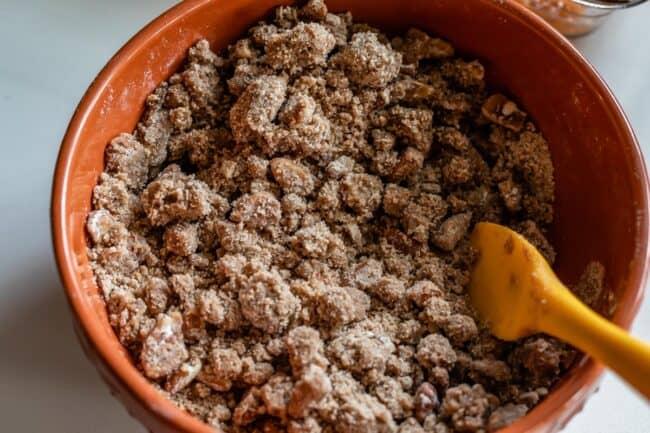 brown sugar streusel in a bowl