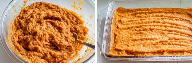 how to make sweet potato casserole; mashing sweet potatoes and spreading in pan