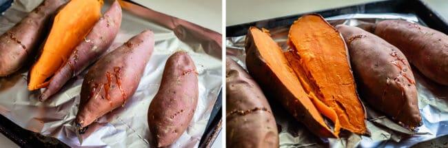 sweet potatoes split open on a pan after baking