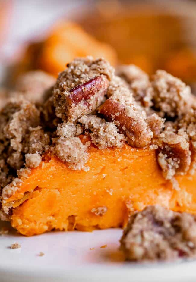 baked sweet potato casserole on a plate