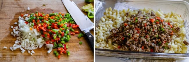 chopped onions, red peppers, and green peppers; sausage and peppers on top of hashbrowns