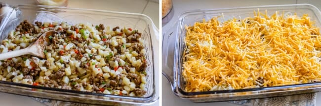 mixing together potatoes and sausage peppers and onions. layering cheese on top.