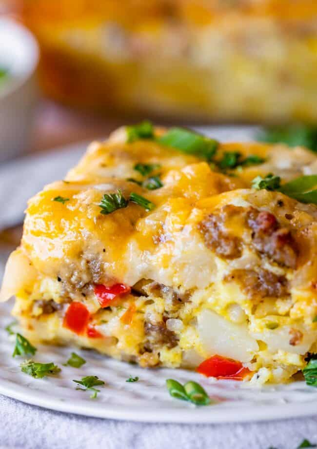 easy breakfast casserole with peppers and onions on a plate