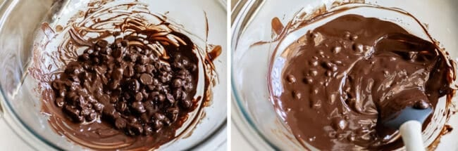 melting chocolate chips in a bowl