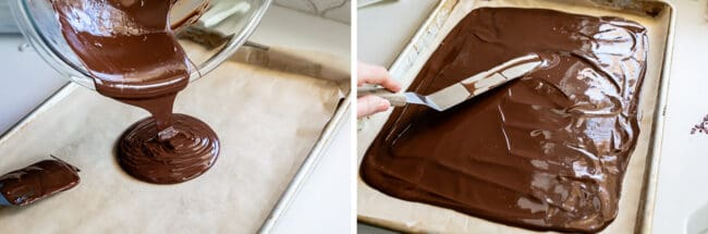 pouring melted dark chocolate onto a pan
