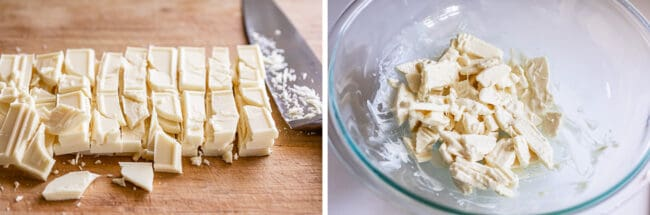 chopped white chocolate on a cutting board and in a bowl