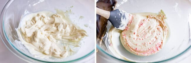 white chocolate melting in a bowl