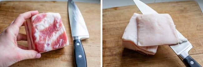salt pork on a cutting board, with the rind cut off