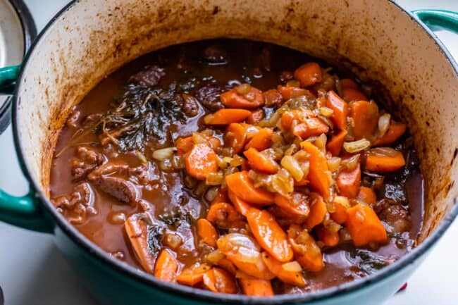 Adding sautéed carrots to beef bourguignon