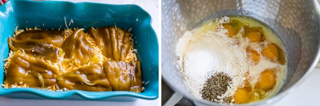 mixing eggs and milk for a chile casserole