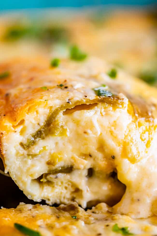 lifting green chile egg casserole from the pan