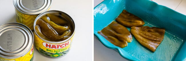 whole green chiles in a can, lining the bottom of a casserole dish with chiles