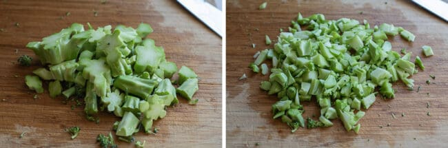 chopping broccoli stems on a cutting board to add to soup