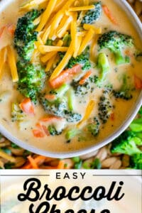 broccoli cheese soup with cheddar cheese and matchstick carrots