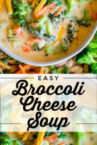 broccoli and cheese soup in a white bowl with cheddar cheese garnish