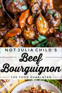 beef bourguignon recipe on a spoon and on a plate with egg noodles