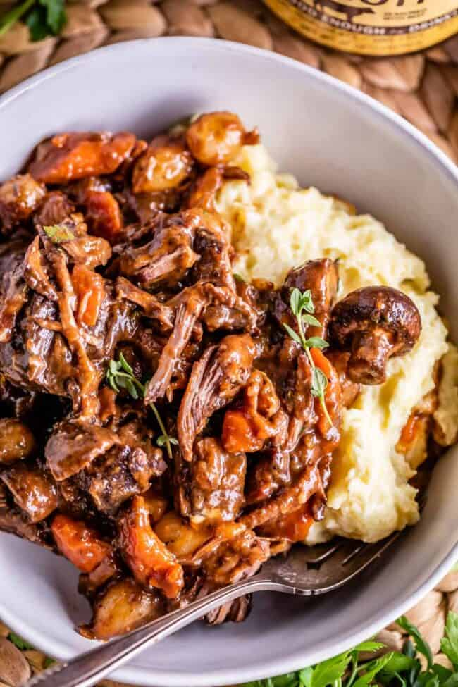 beef bourguignon in a white bowl with mashed potatoes and a fork