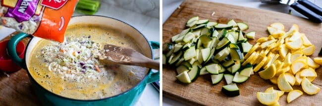 Adding cabbage to soup in a pot, shopped zucchini and yellow squash on a cutting board