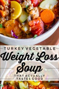 turkey vegetable weight loss soup with carrots, squash, tomatoes, zucchini, celery, etc.